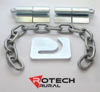 20mm Weld-On Hinges, 8mm Chain & 8mm Chain Latch Plate Kit for Cattle Gates